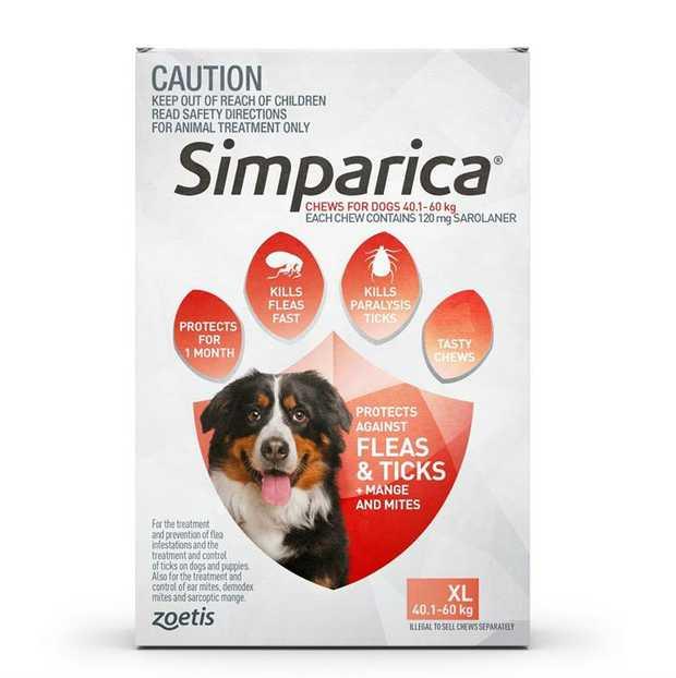 Simparica Flea & Tick Tablets for Extra Large Dogs 40.1-60kg - Red 3-Pack + BONUS Single