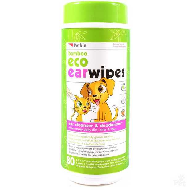 Petkin Bamboo Eco Cleansing & Deodorising Ear Wipes for Cats & Dogs - 80 pack
