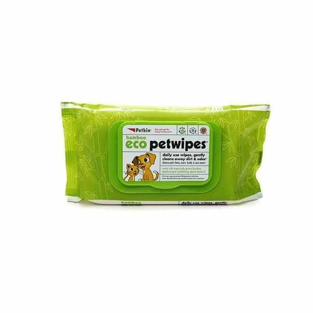 Petkin Bamboo Eco Moisturising Pet Wipes with Herbal Extracts - for Cats & Dogs 80-pack