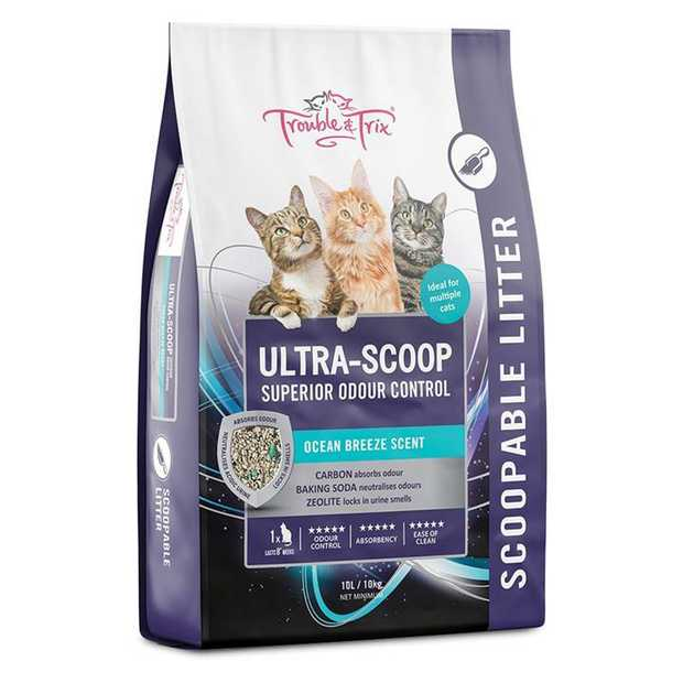 Trouble & Trix Ultrascoop Superior Odour Control Scoopable Cat Litter 10 Litres