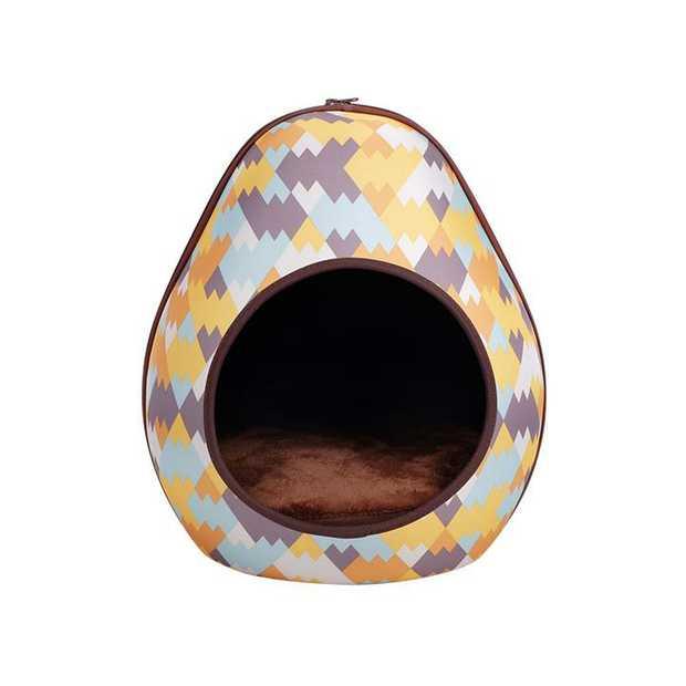 IBIYAYA Gourd Pet House & Enclosed Bed - Zigzag