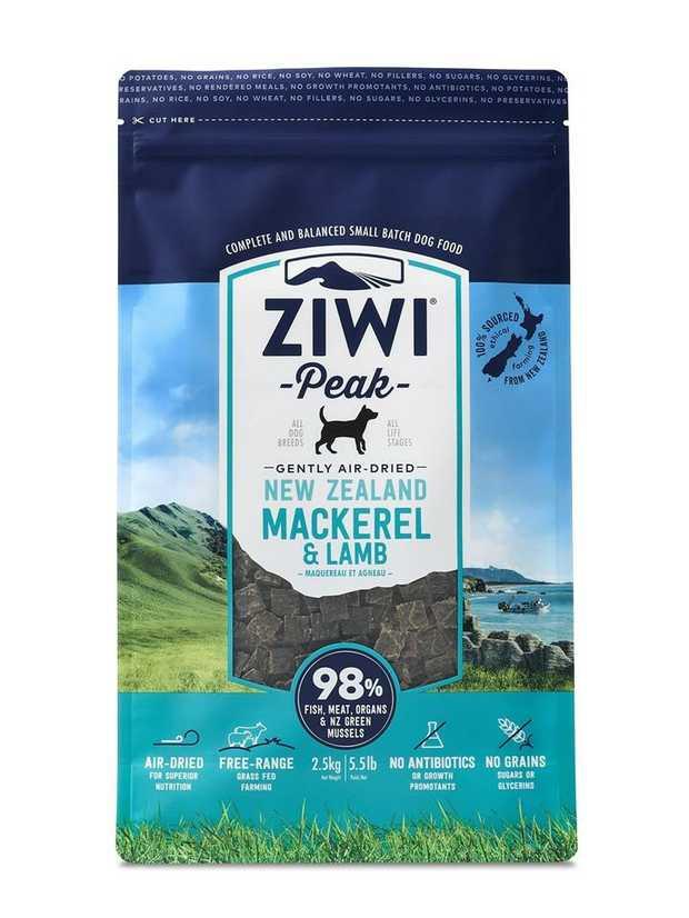 Ziwi Peak Air Dried Dog Food 2.5kg Pouch - Mackerel & Lamb