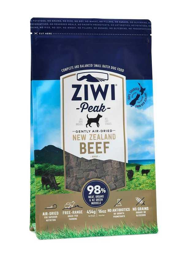 Ziwi Peak Air Dried Dog Food 454g Pouch - Free Range Beef