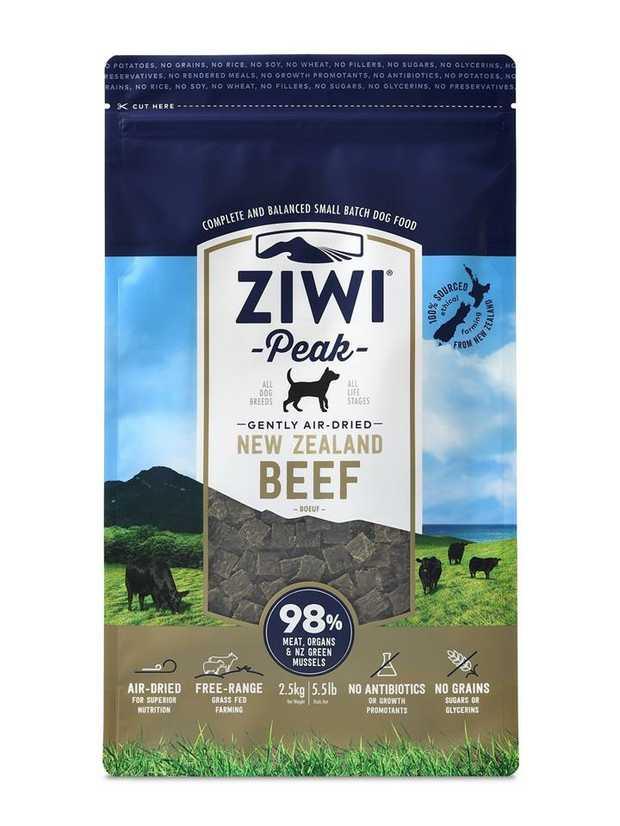Ziwi Peak Air Dried Dog Food 2.5kg Pouch - Free Range Beef