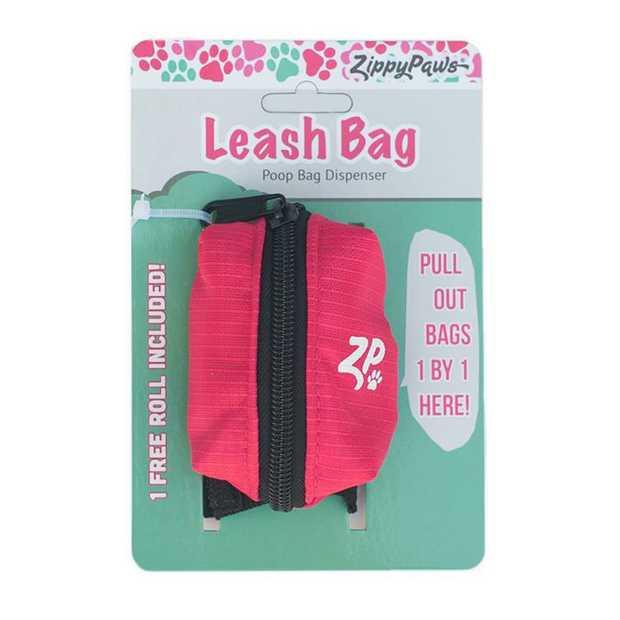 Zippy Paws Adventure Leash Dog Poop Bag Dispenser + BONUS Roll - Hibiscus Pink