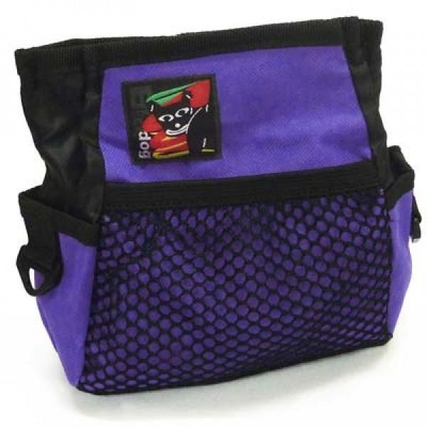 Black Dog Treat & Training Tote Bag with Adjustable Belt - Purple