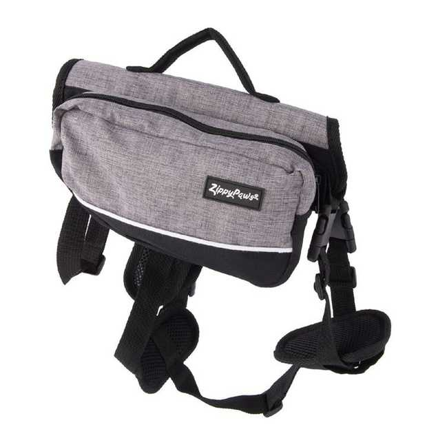 Zippy Paws Dog Backpack and Cary Pack in Graphite Grey - Medium