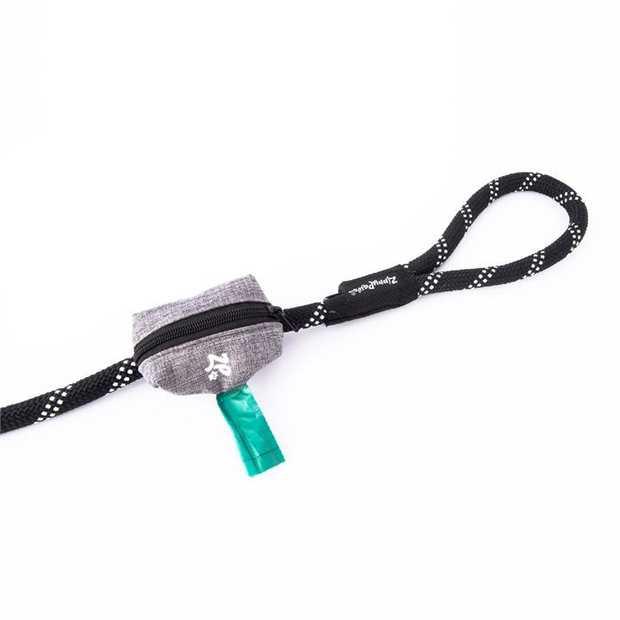 Zippy Paws Adventure Leash Dog Poop Bag Dispenser + BONUS Roll - Graphite Grey