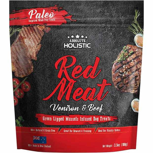 Absolute Holistic Air Dried Dog Treats Red Meat Beef & Venison 100gm