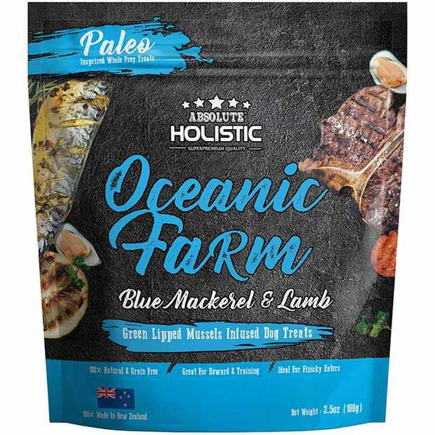 Absolute Holistic Air Dried Dog Treats Oceanic Farm Blue Mackerel & Lamb 100gm
