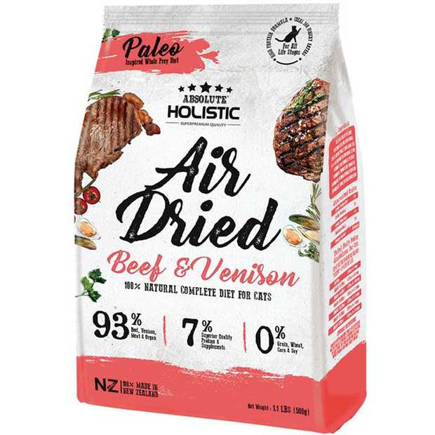 Absolute Holistic Air Dried Cat Food Beef & Venison 500gm