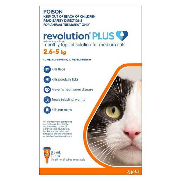 Revolution PLUS Flea, Worm & Tick Topical Prevention for Medium Cats 2.6-5kg - 3-Pack