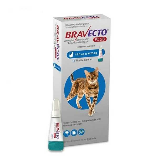 Bravecto PLUS Spot-On 3 month Flea, Tick & Worm Protection - For Cats 2.8 - 6.25kg