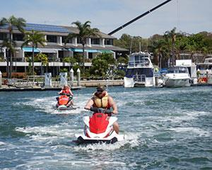 Jump on a jet ski and make a splash in the waters around Bribie Island on this 90 minute guided jet ski...