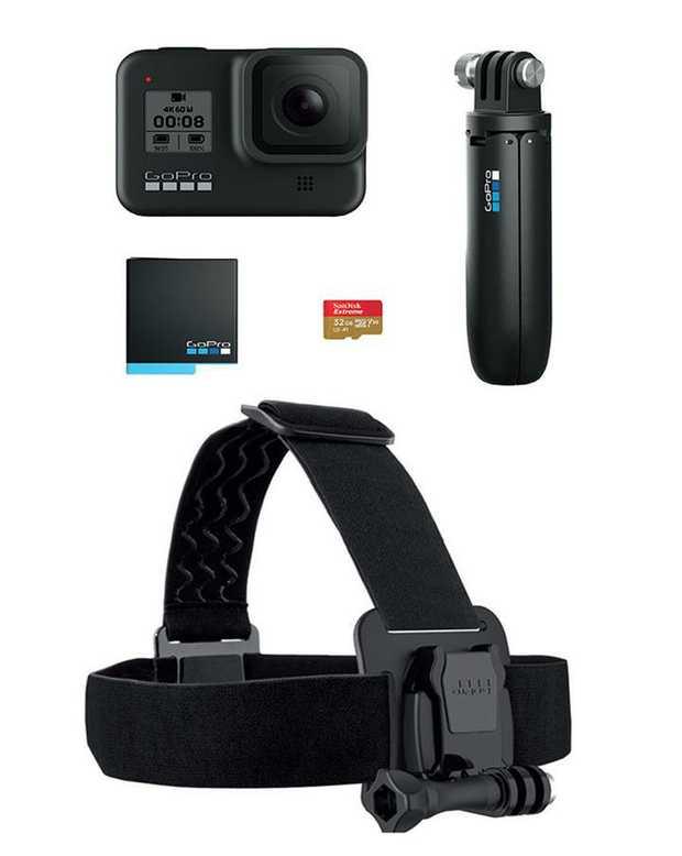 Hero8 Camera 32GB SanDisk MicroSD Card Battery Pack Shorty Grip/Tripod Head Strap HyperSmooth 2.0 +...