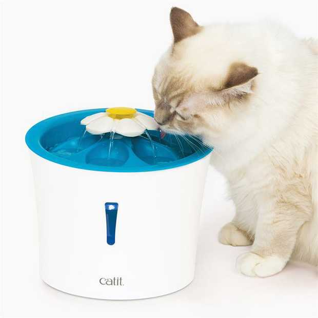 Catit 2.0 Blue LED Flower Water Fountain with Nightlight for Cats & Dogs - 3 litres