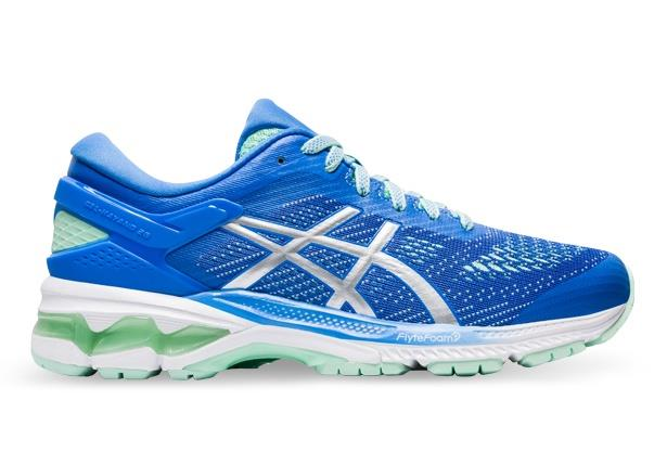 The Women's ASICS GEL-KAYANO 26 running shoe combines luxurious comfort and improved bounce, featuring...