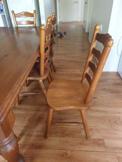 DiningTableTimber 8 seater colonial  + 8 matching chairs