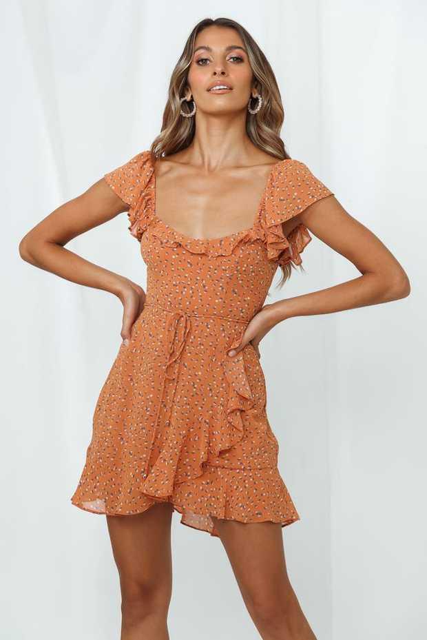Length from shoulder to hem of size S: 80cm. Orange print mini dress. Lined. Cold hand wash...