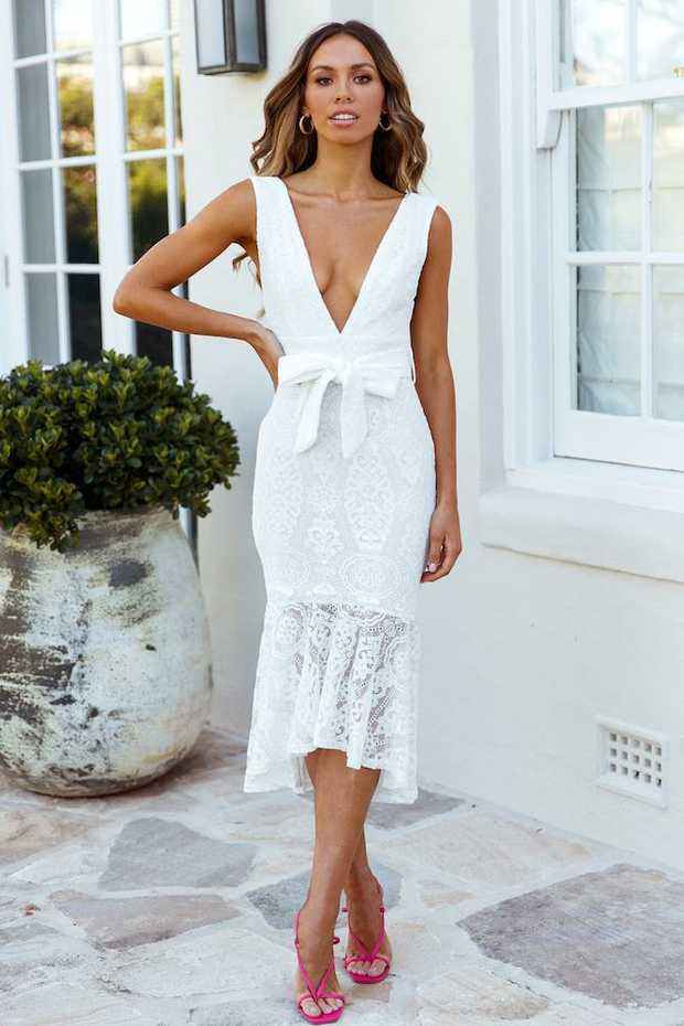 Length from shoulder to hem of size S: 120cm. White midi dress. Lined.  Cold hand wash only. Model...