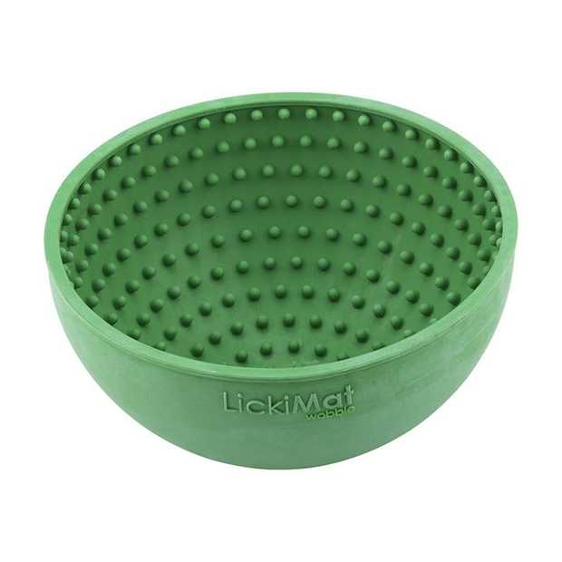 LickiMat Wobble Slow Feeder Boredom Buster Dog Food Bowl - Green