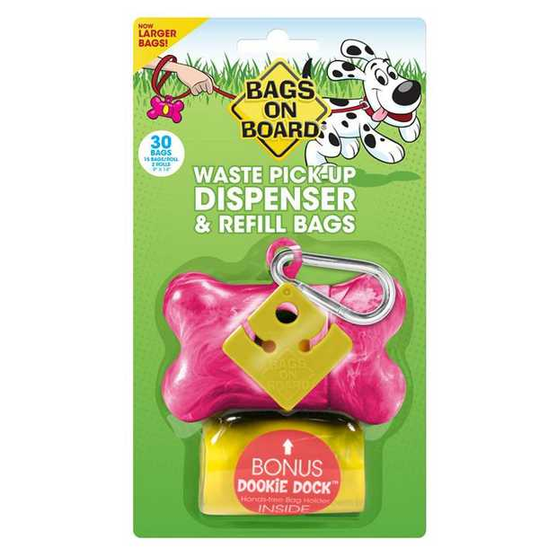 Bags on Board Dog Waste Pick up Dispenser + Bonus 30 Bags - Pink Marble Bone
