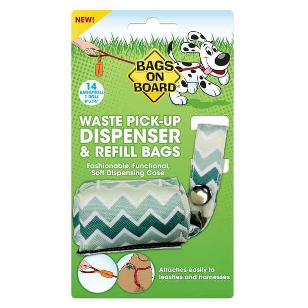 Bags on Board Fashion Waste Pick up Bag Dispenser Green Chevron Print + Bonus 14 Bags