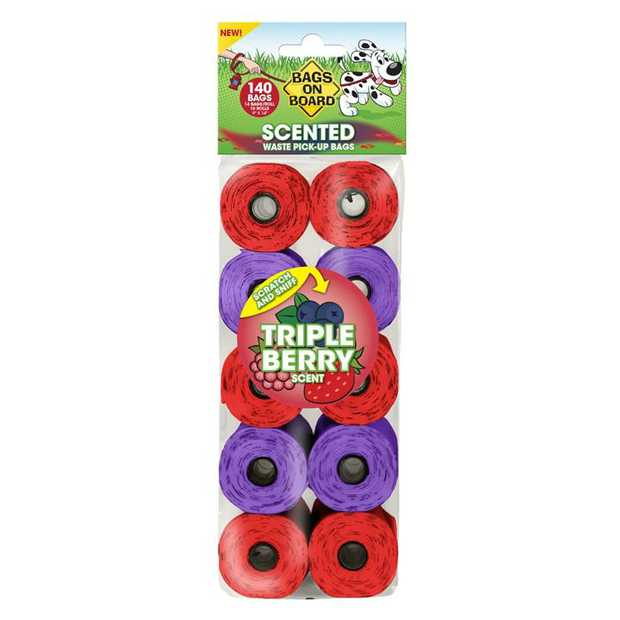 Bags on Board Large Waste Pick up Bags - Triple Berry Scented - 140 Bags