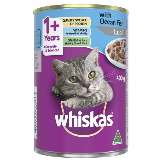 whiskas wet cat food adult 1 plus ocean fish loaf  24 x 400g | Whiskas cat food | pet supplies| Product...
