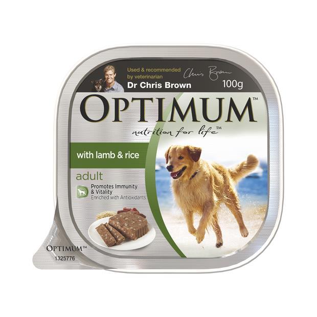 optimum adult lamb rice dog food trays  12 x 100g | Optimum dog food | pet supplies| Product...