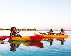 Grab a paddle and head out onto the water at Lake Macquarie on the Central Coast with a single kayak...