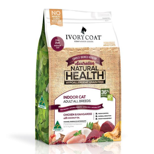 ivory coat grain free dry cat food adult indoor chicken and kangaroo  3kg   Ivory Coat cat food   pet...
