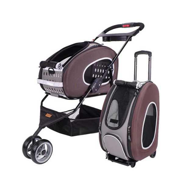 IBIYAYA 5-in-1 Combo EVA Pet Carrier/Pram/Stroller - Chocolate