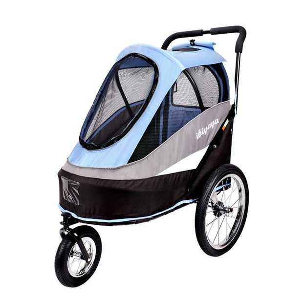 IBIYAYA Pet Bicycle Trailer & Stroller - All in One - Blue