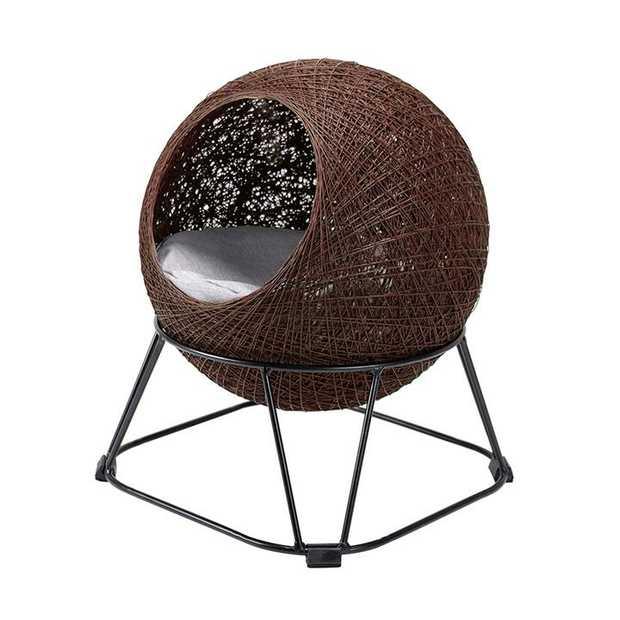 Ibiyaya Zentangle Pet Cave Pod Cat Bed with Cushion - Chocolate Brown