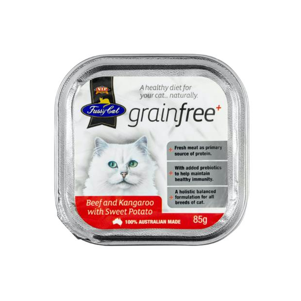 fussy cat grain free tray wet food adult beef and kangaroo with sweet potato  9 x 85g | Fussy Cat cat...