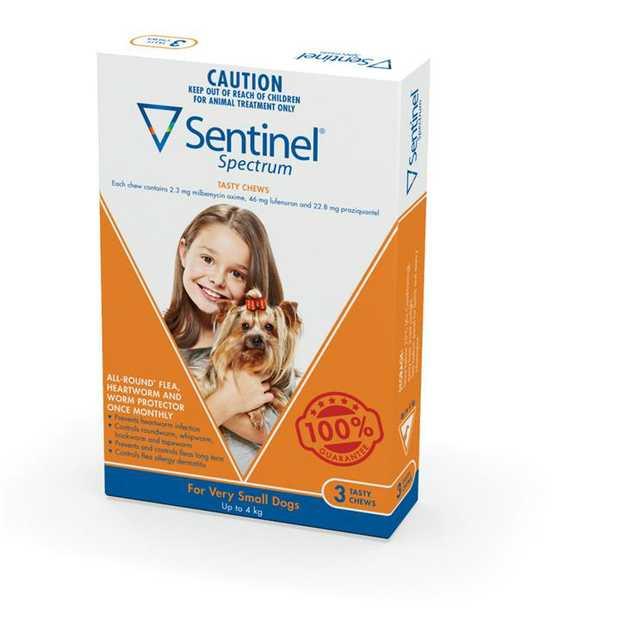 Sentinel Spectrum XS Dogs up to 4kg - 3-Pack (Orange)