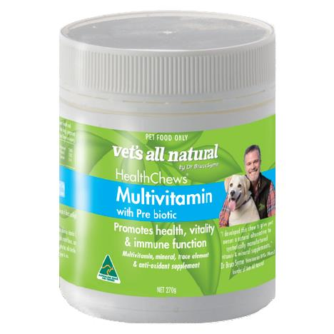 The Vets All Natural Health Chews Multivitamin 270g is a healthy, natural supplement for your beloved...