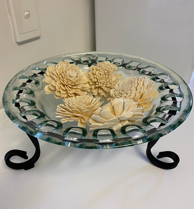 DECORATIVE GLASS PLATE SITTING IN WROUGHT IRON STAND WITH DECORATIVE WOODEN FLOWERS.  FLOWERS CAN BE...