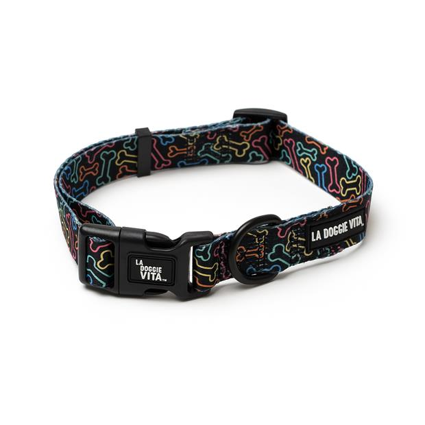 la doggie vita collar neon bone black  small | La Doggie Vita dog | pet supplies| Product Information:...