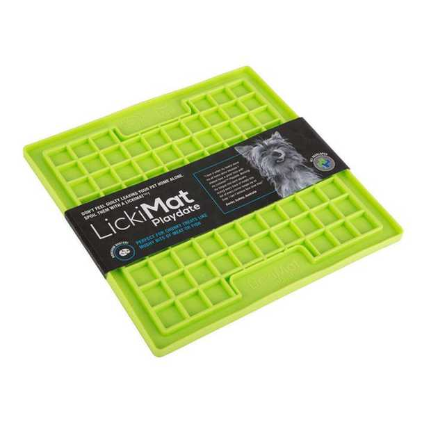 Lickimat Playdate Original Slow Food Licking Mat for Cats & Dogs - Green