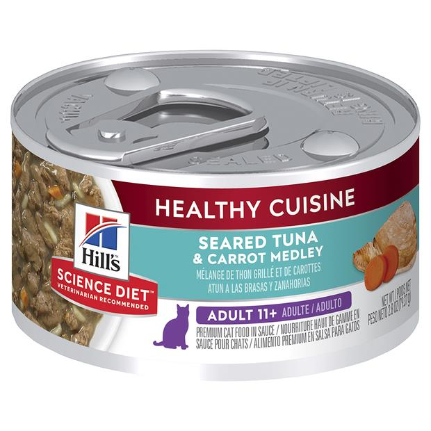 hills science diet senior 11 plus healthy cuisine tuna and carrot medley canned cat food  24 x 79g |...
