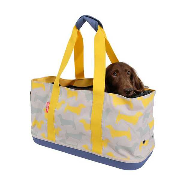 Ibiyaya Sausage Dog Pet Carrier Tote for Dachshunds - Yellow Mustard