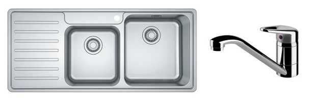 BCX621L + TA6400 380mm x 415mm x 180mm Large Bowl 350mm x 320mm x 160mm Small Bowl Stainless Steel Sink...