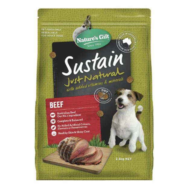 natures gift dry dog food adult sustain beef  4 x 2.5kg | Natures Gift dog food | pet supplies| Product...
