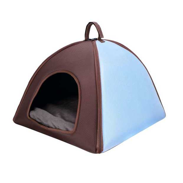 Ibiyaya Little Dome Pet Tent Bed for Cats and Small Dogs - Blue