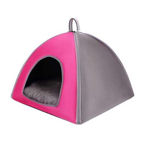 Ibiyaya Little Dome Pet Tent Bed for Cats and Small Dogs - Pink