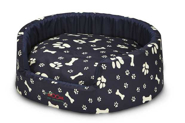 Snooza Buddy Bed Dog Bed - Navy Paws 'n' Bones - Large