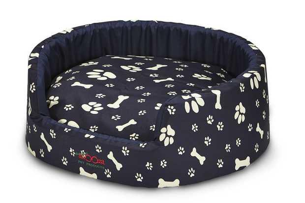Snooza Buddy Bed Dog Bed - Navy Paws 'n' Bones - Medium