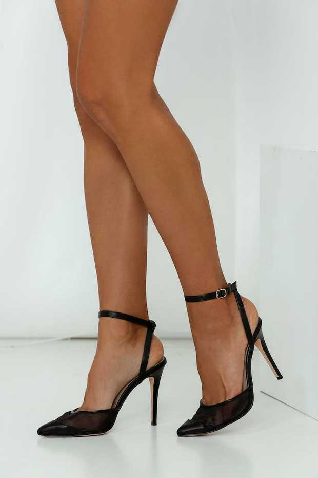 Black mesh heels. 